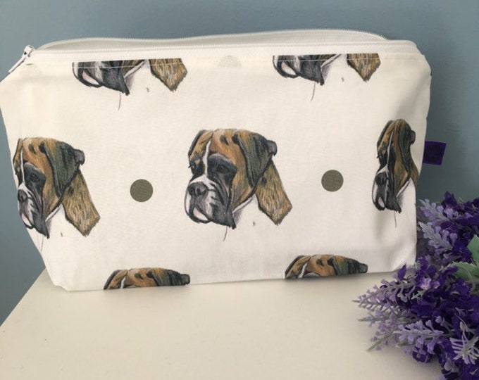 Boxer dog makeup bag, cosmetics bag, for boxer dog lovers, boxer dog gift