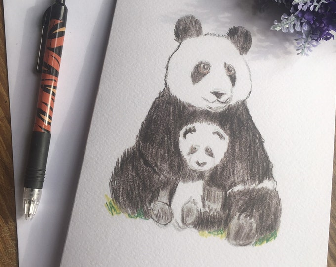 Panda, panda and cub card, Mother's Day card, greetings card, for panda lovers, panda gift, panda gift idea
