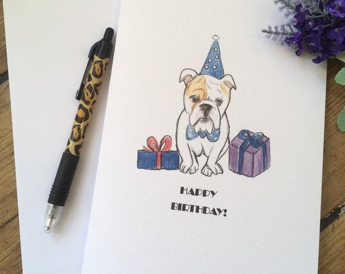 English bulldog card, birthday card, british bulldog, for british bulldog lovers, british bulldog gift