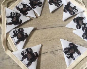 Sloth, bunting, for sloth lovers, sloths, bunting flags, wall decor