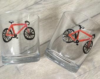 Bicycle, bike, whiskey glasses, tumblers, for bike riders, for bike lovers, bike rider gift