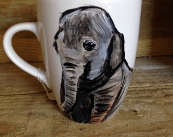 Elephant mug, elephants, tea, for elephant lovers, ceramic, hand painted