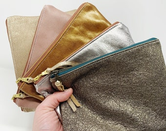 Leather Pouch with Zipper, Gold Glimmer, Leather Pouches, Medium