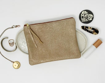 Leather Pouch with Zipper, Rose Gold Metallic, Leather Pouches, Medium