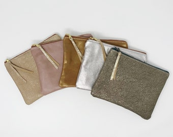Leather Pouch with Zipper, Space Grey, Leather Pouches, Medium