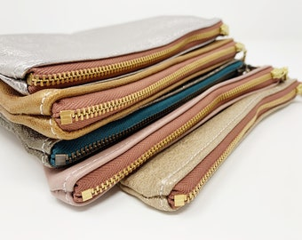 Leather Pouch with Zipper, Blush Pink, Leather Pouches, Medium