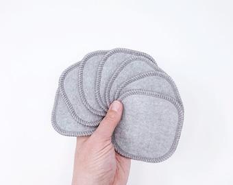 "Reusable Organic Bamboo Cotton Face Pads, Face Cloth, Makeup Remover, 4"", Pack of 7"