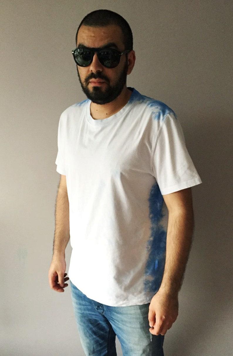 fedee1beb98 Ombre Denim Blue Mens T-shirt Tie Dye Summer Tee White Cotton