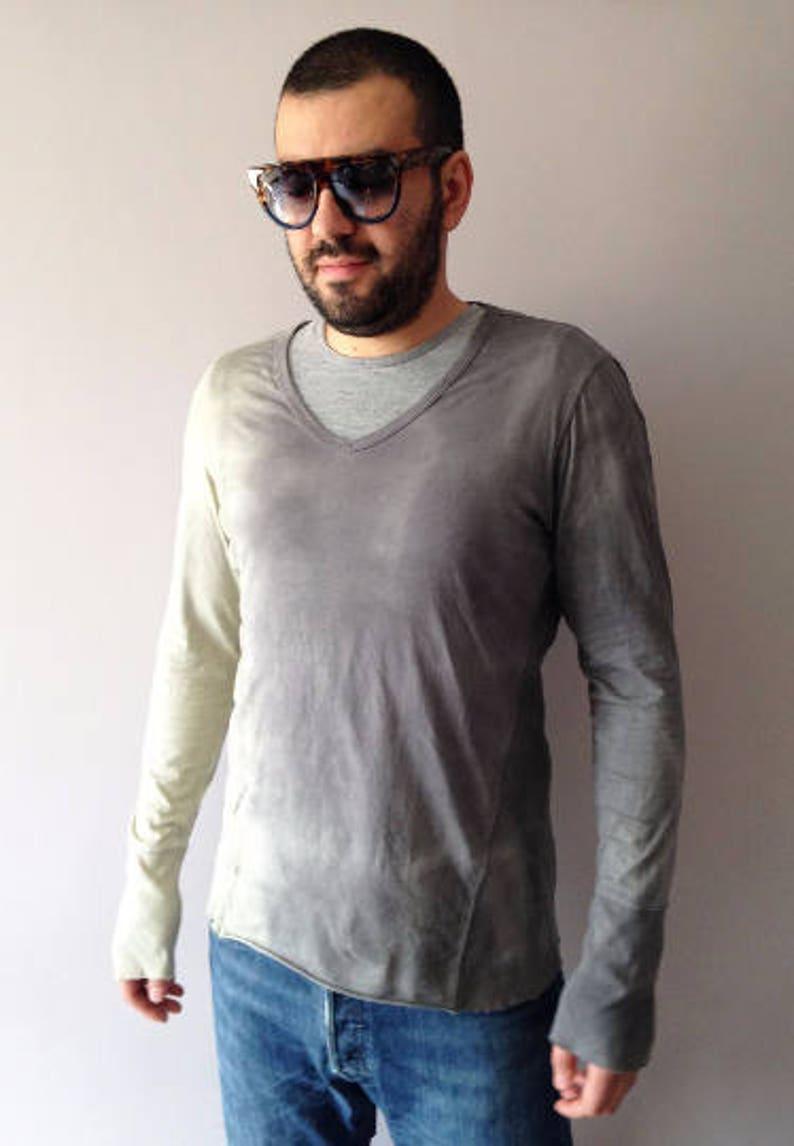 0ece0a9fe2a Mens Ombre Grey T-shirt Size Medium Dip Dye Graphite Hand Dyed