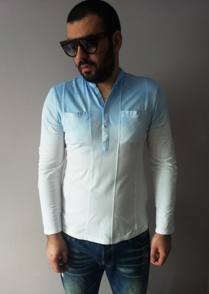 5b31974b1f5 Mens Ombre Sky Blue T-shirt Tie Dye Denim Blue Top One Of A