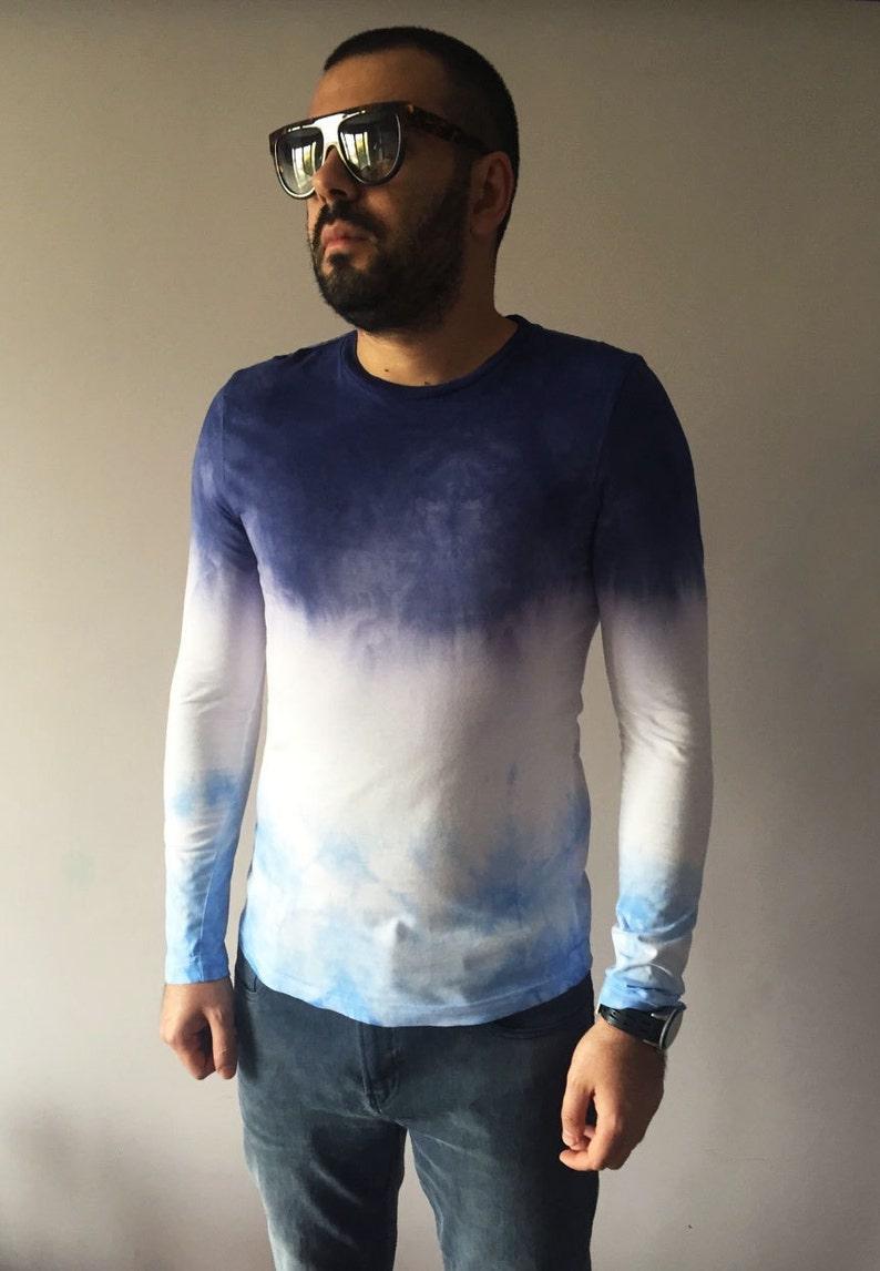 7b3676bfc26 Ombre Mens Purple Blue T-shirt Hand Dyed Unique Dip Dye Dark