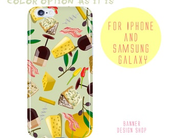 Cheese Samsung Galaxy S8 Case Wine iPhone 7 Plus Case Olives Peppers Bacon iPhone 8 Case Food Pattern Samsung Galaxy 6s Edge Cheese Clip Art