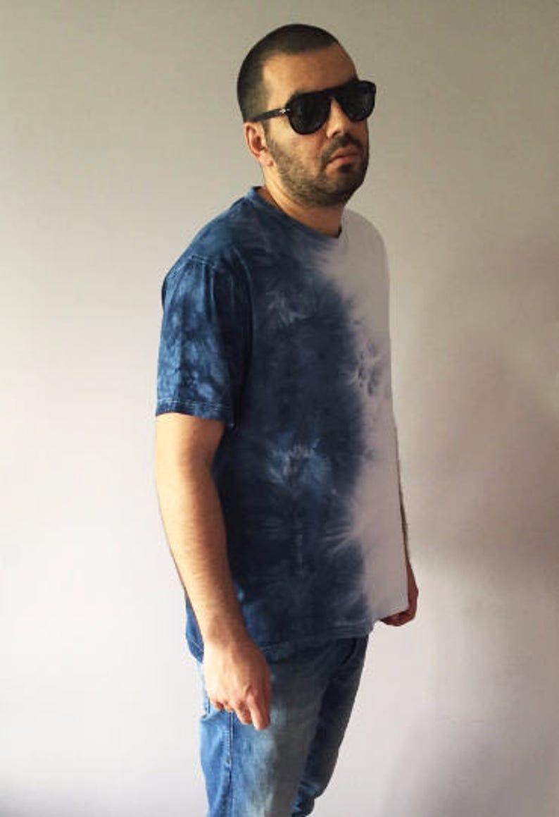 2d53294fea3 Ombre Mens T-shirt Tie Dye Indigo Blue Top Shibori Shirt