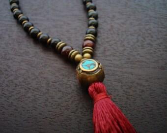 Goldsheen Obsidian Tassel Mala - Obsidian, Garnet Mala Necklace or Wrap Bracelet - Yoga, Buddhist, Prayer Beads, Jewelry