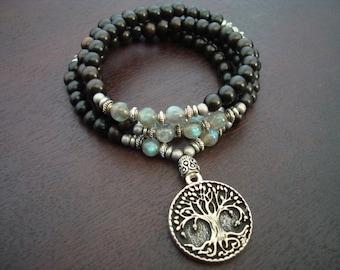 Women's Labradorite Strength & Wisdom Mala // Tree of Life Mala Necklace // Yoga, Buddhist, Prayer Beads, Jewelry