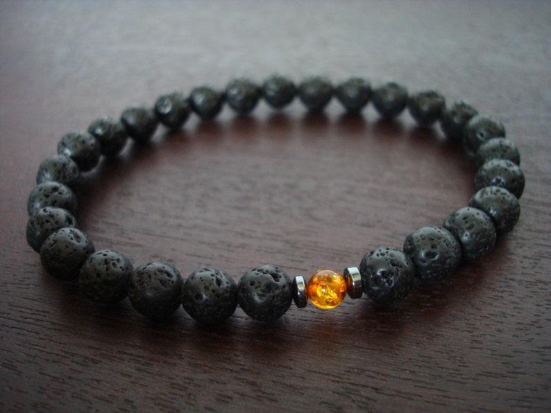 Men's Lava Rock & Baltic Amber Mala Bracelet // Genuine Baltic Amber  Bracelet // Yoga, Buddhist, Meditation, Prayer Beads, Jewelry