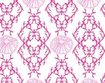 Full Moon Lagoon - Sea Sketch in Pink - Mo Bedell for Andover Fabrics - 6002-EL - 1/2 yard