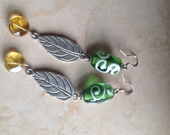 Painted Glass Dangle Leaf  Earrings (free shipping)