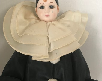 "Pierrot Clown Doll, 19"", bone china & stuffed"
