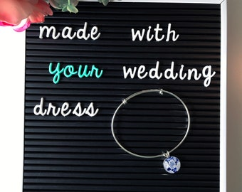 Bangle Style Charm Bracelet | Sterling Silver | Made with your wedding lace | Can Add As Many Charms As You Need