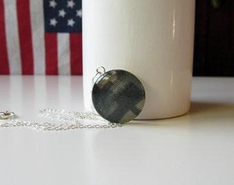 Custom Military Keepsake Necklace Medium Pendant / Army / Air Force / Coast Guard / Navy / Marine Corps