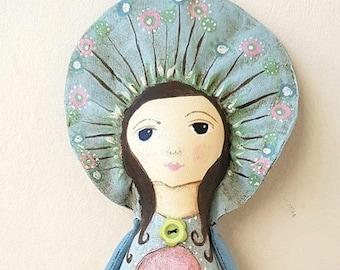 Flower fairy art doll, wall hanging doll, OOAK.