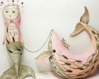 Mermaid folk art cloth doll sculpture - original contemporary folk art doll