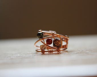 Wide Width Wire Wrapped Copper Ring