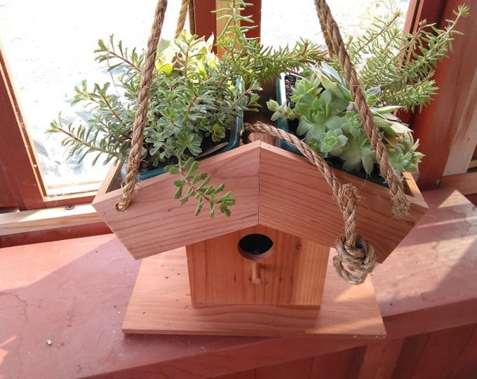 Featured listing image: Redwood Birdhouse Roof Planter W/Inserts
