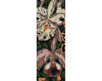 Orchids 2 Peyote Bead Pattern, Bracelet Pattern, Bookmark Pattern, Seed Beading Pattern Miyuki Delica Size 11 Beads - PDF Instant Download