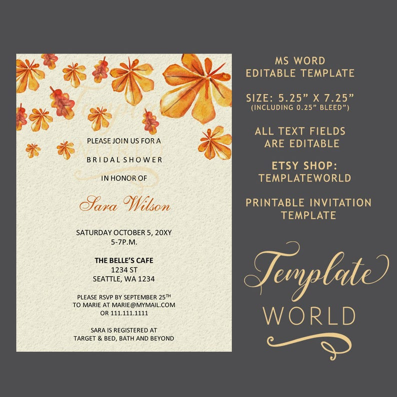 PRINTABLE Fall Bridal Shower Invitation Template Word Printable For