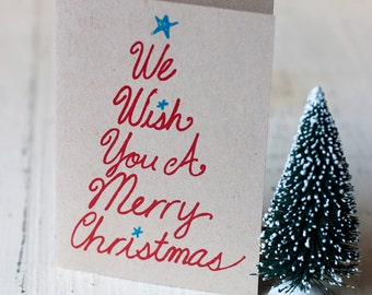 We Wish You a Merry Christmas Hand Printed Cards - Set of 6