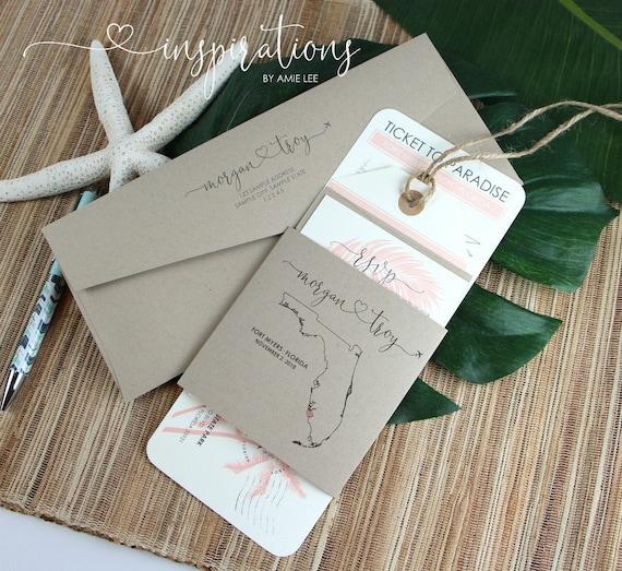 Airplane Ticket Destination Wedding Invitations Travel Theme Boarding Pass Wedding Invitations Florida Wedding Boarding Passes