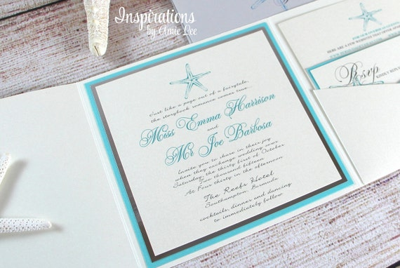 Wedding Invitations, Beach Wedding, Tropical Wedding, Custom Invitations, Pocket fold, Starfish Design