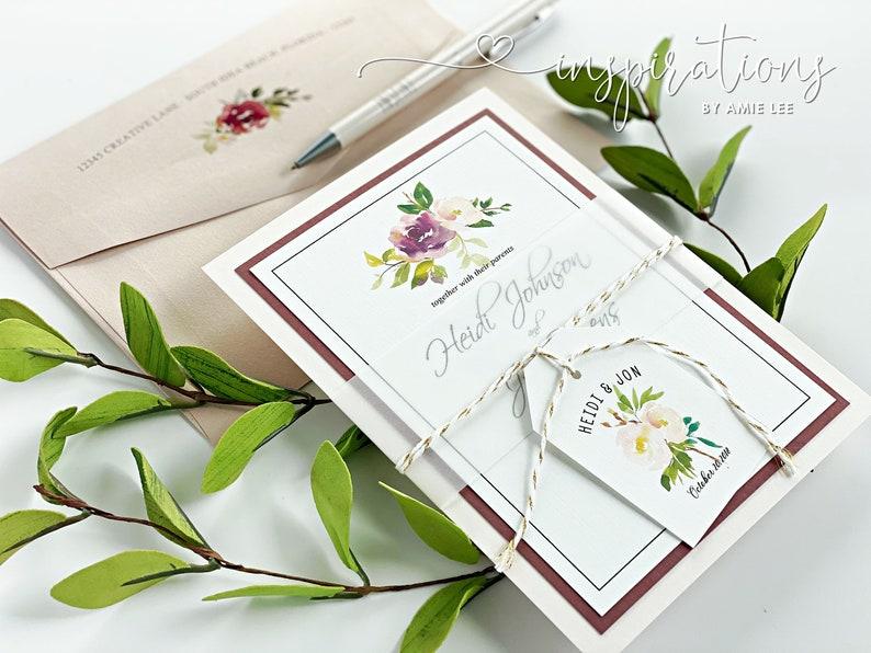 Elegant Floral Wedding Invitations Blush Pink Dusty Rose image 0