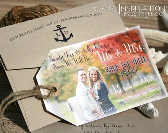 Luggage Tag save The Dates, photo save the dates, photo tags