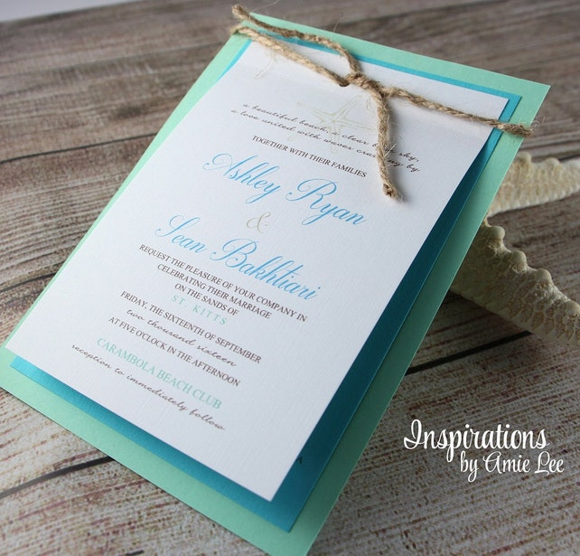 Rustic Beach Wedding Invitations, Beach wedding, Wedding Invitations, Tropical Wedding, Custom Invitations