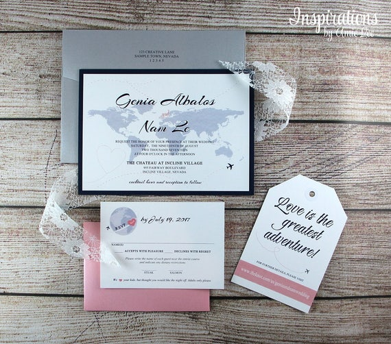 Travel Map Wedding Invitations, World Map Invitations, Travel Theme Wedding, Destination Wedding, Map Invitations