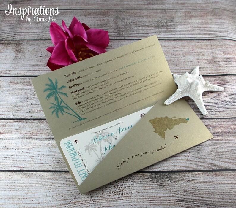 Destination Wedding Boarding Pass Wedding Invitations Dominican Republic Wedding