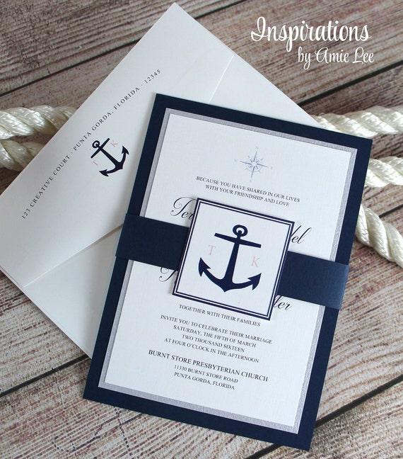 nautical invitations nautical wedding navy invitations etsy