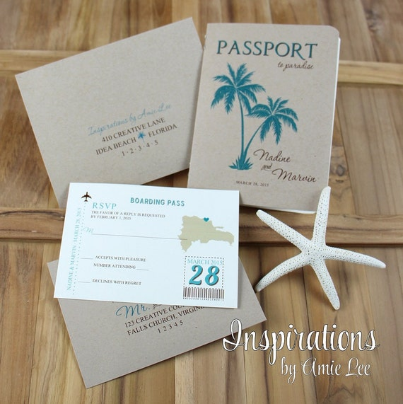 Passport Wedding Invitations, Passport, Destination Wedding. Travel Theme Wedding