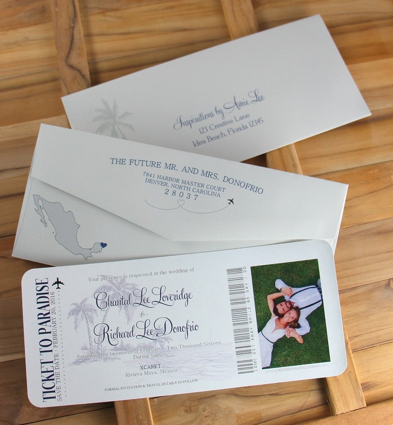 Ticket to Paradise Travel Theme Boarding Pass Save The Dates Save The Date Destination Wedding
