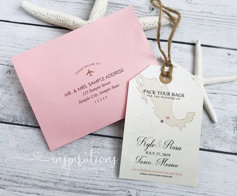 luggage tags destination wedding save the date Beach Wedding Save the Date Luggage Tags Map Invitations Mexico