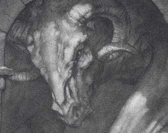 Portal - Gothic Dragon - 8 x 10 art print of a charcoal drawing