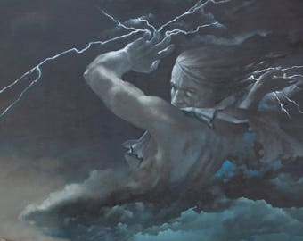 Zeus - Greek God - 8 x 10 art print of an oil painting