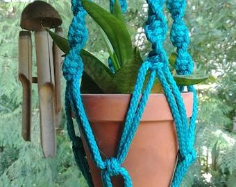Turquoise Macramé Plant Hanger