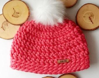 Hot Orange Pom Pom Hat