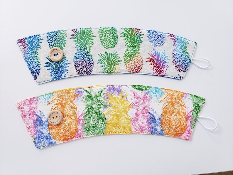 Pineapples Coffee Cozie Set Coffee Sleeve Coffee Clutch Hot image 0