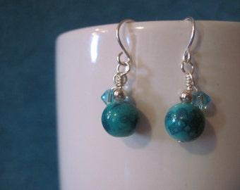 Turquoise blue dangle earrings swarovski bicone