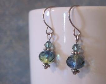 Blue green dangle earrings - swarovski bicone - antique silver